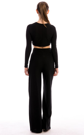Twist Knot Top & Trouser Co-Ord Set -Black by Npire London