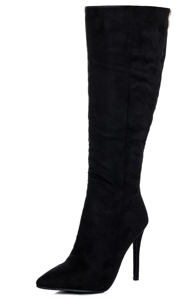 7658a6e4359 KIND Zip Pointed Toe High Heel Stiletto Knee High Tall Boots - Black Suede  Style by
