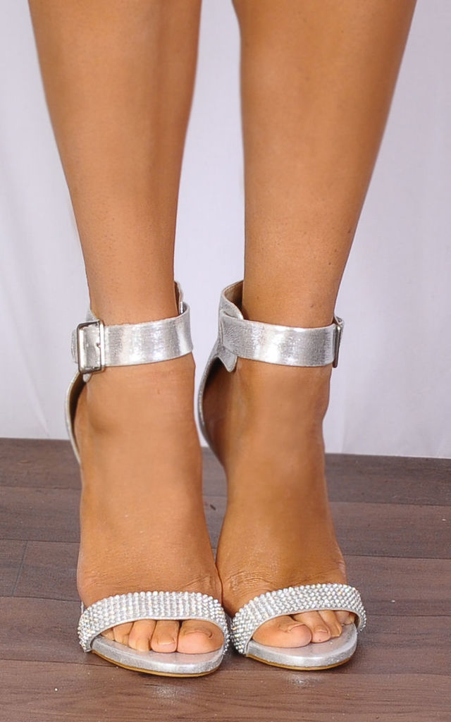 Silver Metallic Diamante Strappy Sandals Peep Toes High Heels by Shoe Closet