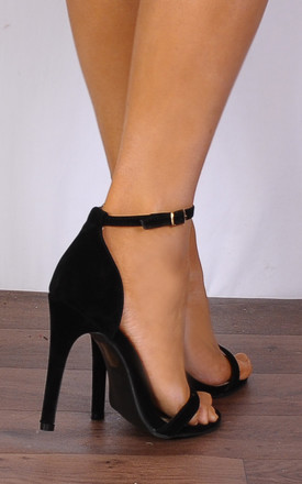 Black Barely There Strappy Sandals Peep Toes Stilettos High Heels by Shoe Closet