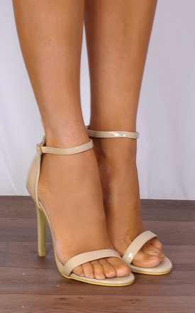 Nude Patent Barely There Strappy Sandals Peep Toes Stilettos High Heels by Shoe Closet