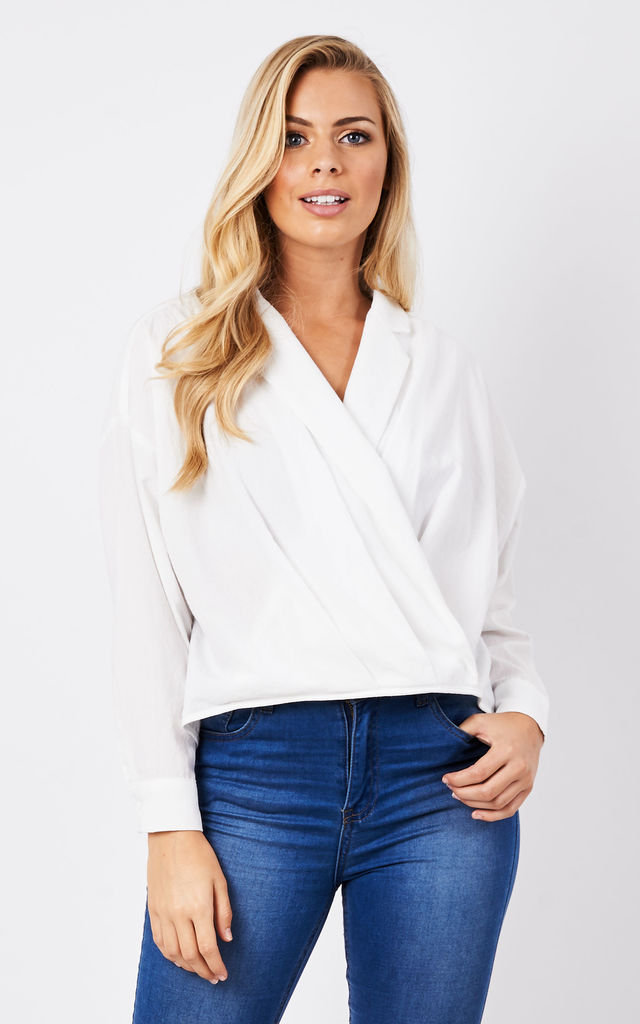 Loose wrap blouse with waist pleats by Paisie