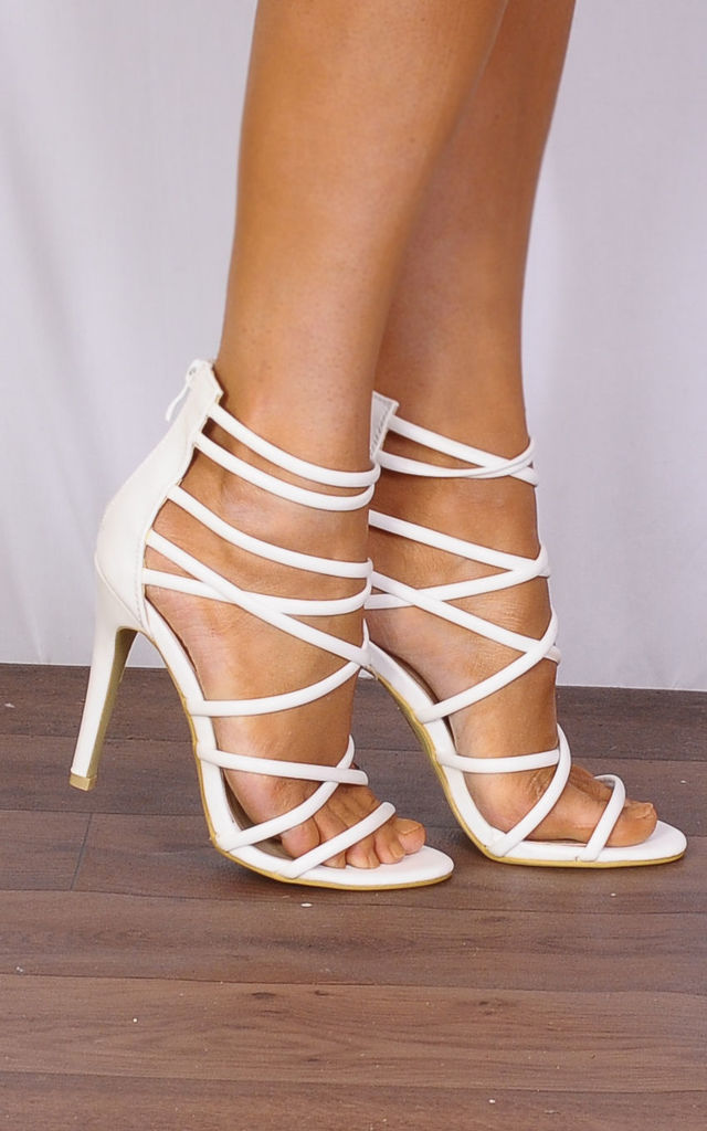 White Patent Ankle Strap Peep Toes Strappy Sandals High Heels by Shoe Closet
