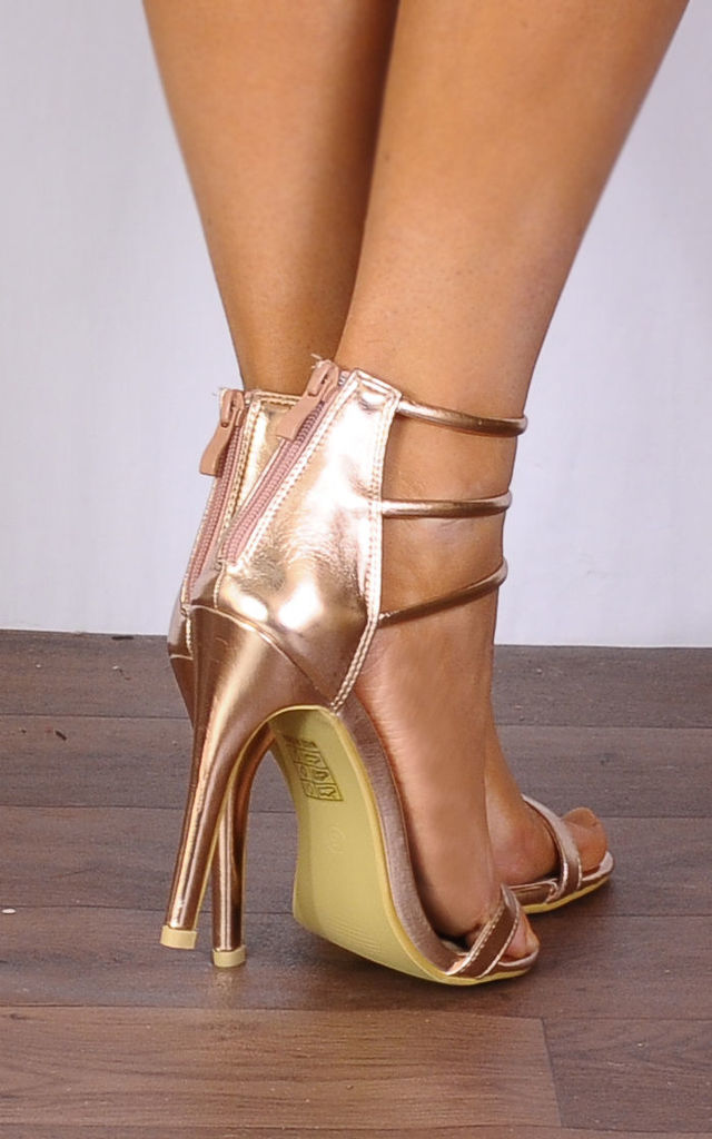 Rose Gold Metallic Barely There Peep Toes Strappy Sandals Stilettos High Heels by Shoe Closet