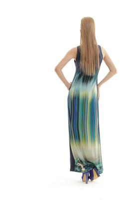 Sleeveless Print Maxi Dress by Conquista Fashion