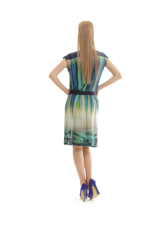 Cap Sleeved Print Dress by Conquista Fashion