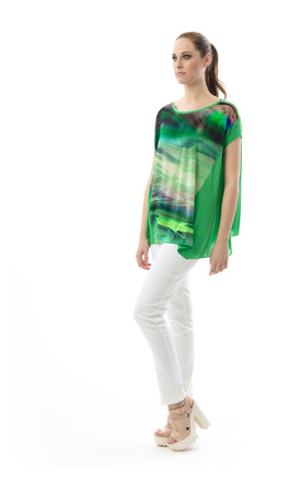 Print Detail A Line Top by Conquista Fashion