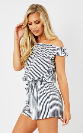 Bardot Off Shoulder Playsuit San Tropez Stripes by likemary