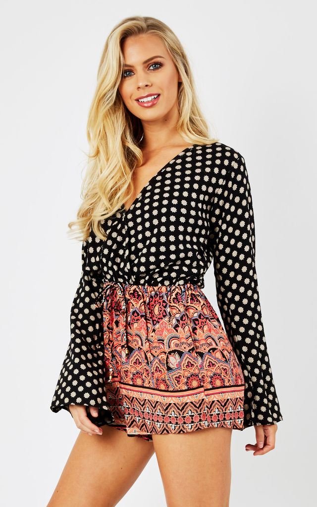 Festival Print Bell Sleeve Playsuit by likemary