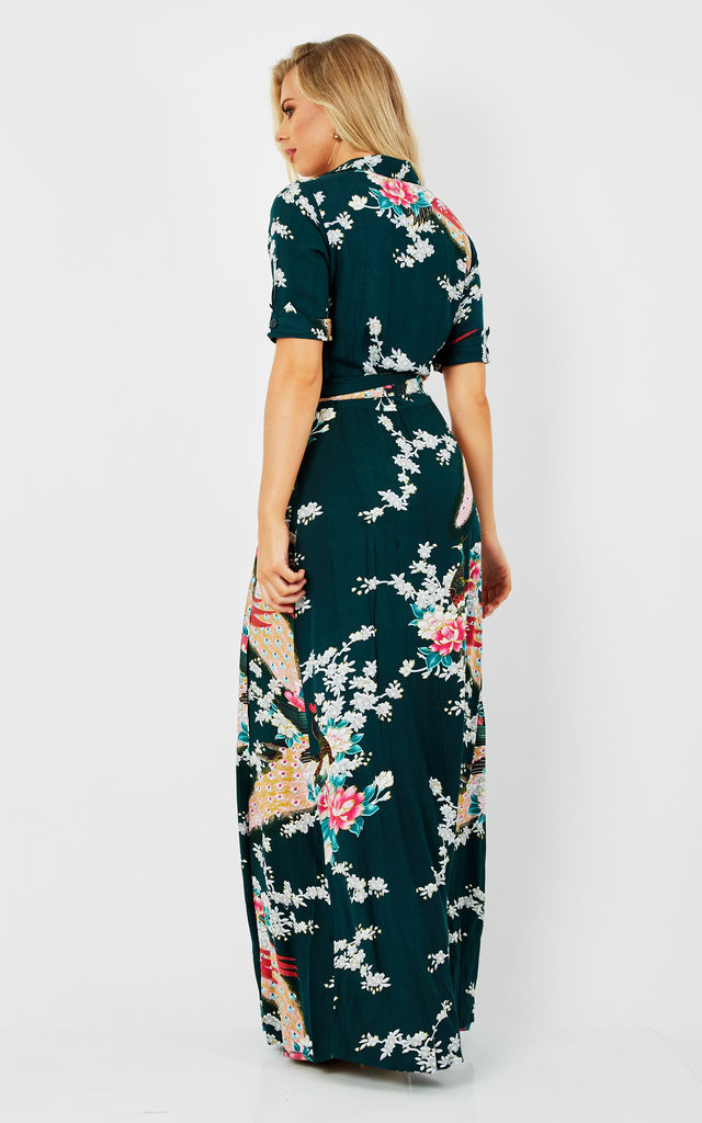 Vintage Wrap Maxi Dress Eastern Peacock Green by Ruby Rocks
