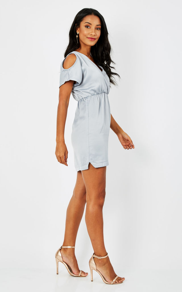 LIGHT GREY SATIN MINI DRESS WITH FRILL SLEEVE by Glamorous
