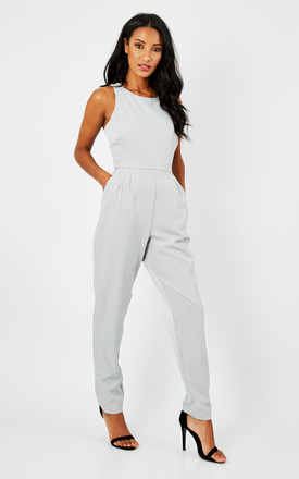 LIGHT GREY SLEEVELESS JUMPSUIT by True Decadence