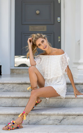 White Off The Shoulder Textured Spot Playsuit by Styled In London Product photo