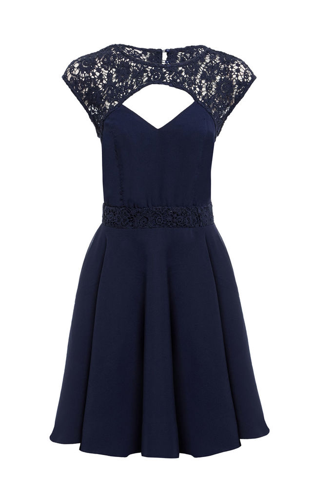 SHEEN Harriet lace dress in Navy by Sheen Clothing