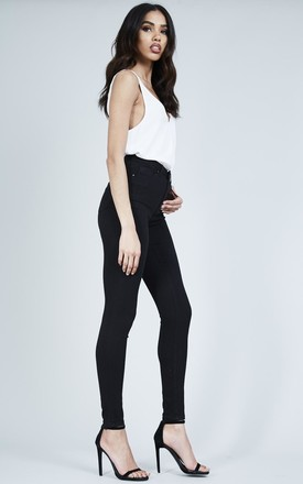 Black High Waisted Soft Skinny Jeans by London End