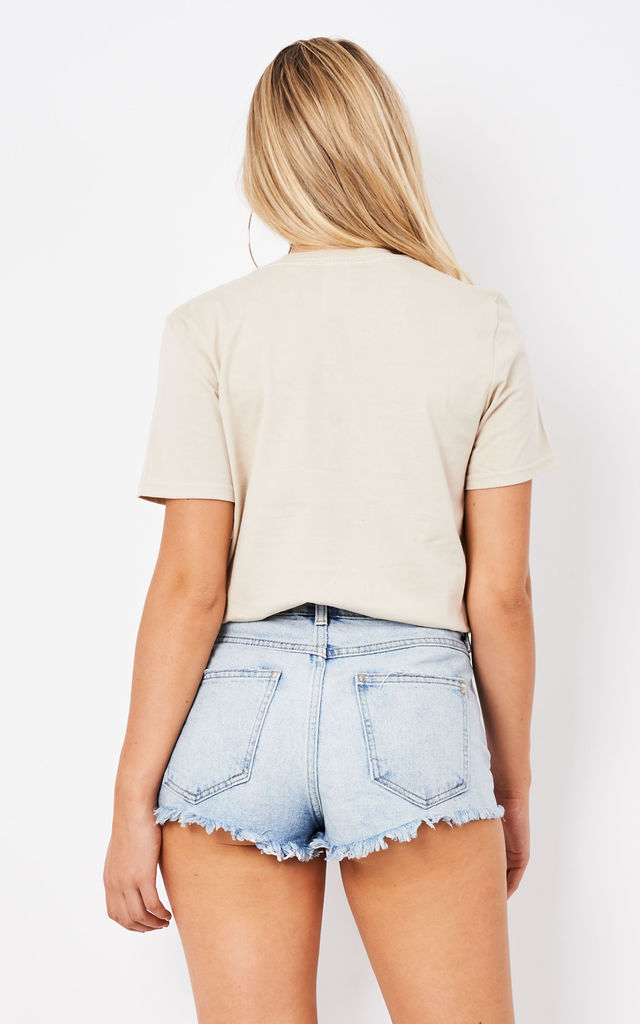 HAUTE COUTURE EMBROIDERED TEE- NUDE by Cats got the Cream