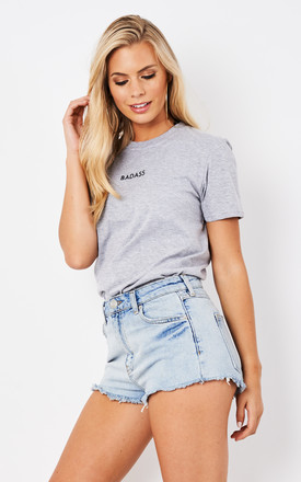 BADASS EMBROIDERED TEE- GREY by Cats got the Cream