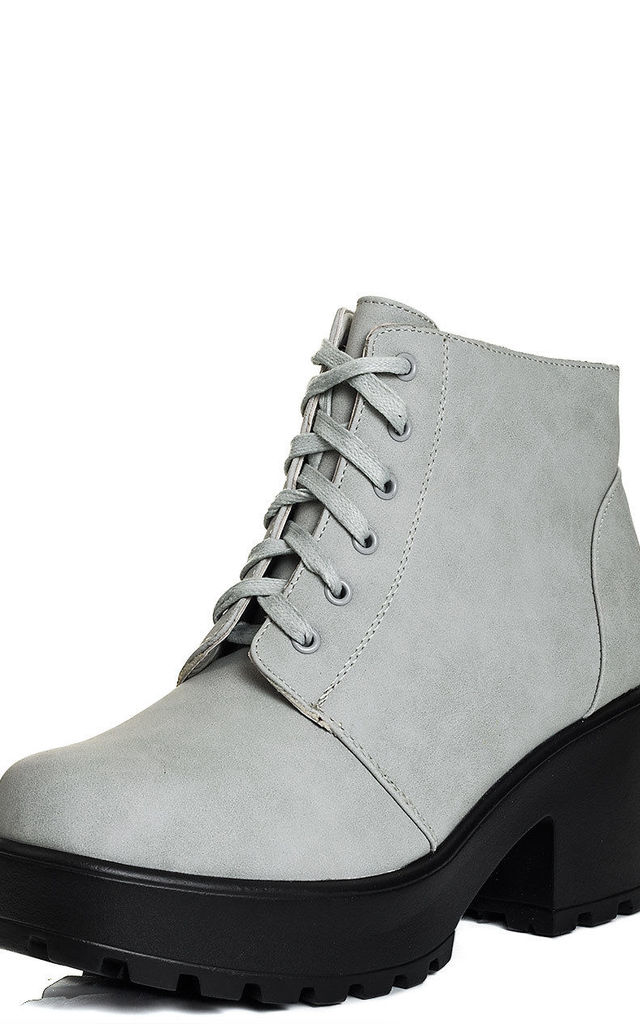 HOTHEAD Lace Up Block Heel Ankle Boots Shoes - Stone Leather Style by SpyLoveBuy