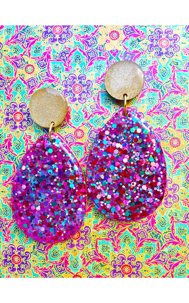 Moroccan Nights Pink/Purple Dangle Earrings by Lual Earrings