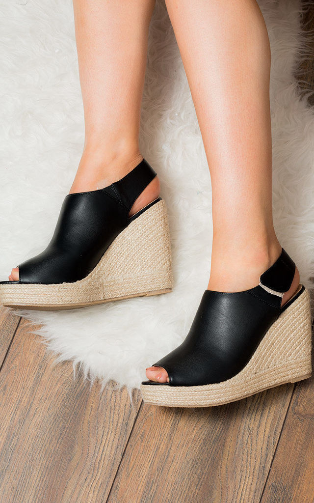 HAYLEY Open Peep Toe Wedge Heel Sandals Shoes - Black Leather Style by SpyLoveBuy