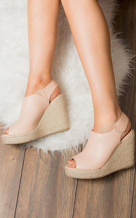 HAYLEY Open Peep Toe Wedge Heel Sandals Shoes - Nude Leather Style by SpyLoveBuy