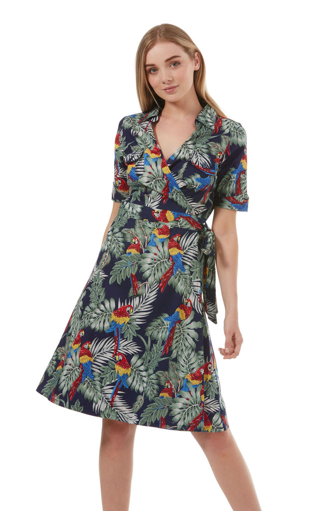 Lost in Paradise Vintage Wrap Dress Navy by Ruby Rocks