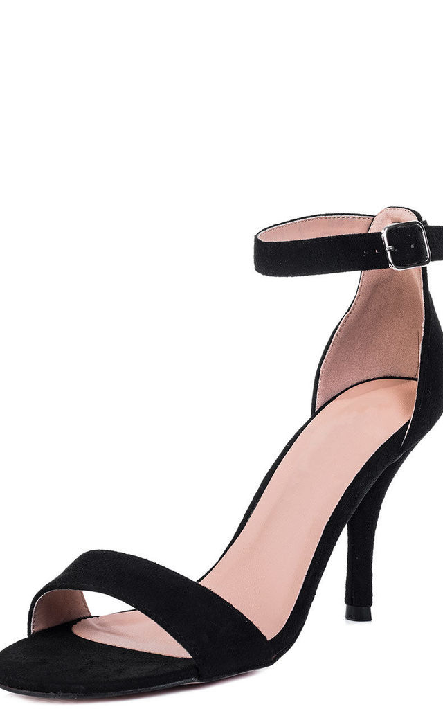 SOPHIE Wide Fit High Heel Stiletto Strappy Sandals Shoes - Black Suede Style by SpyLoveBuy