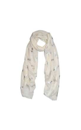 Feather Print Scarf In Ivory by White Leaf Product photo