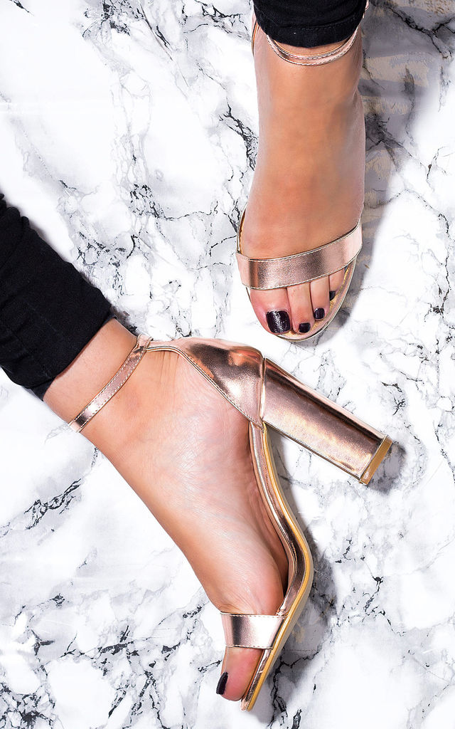 SASS Barely There Block Heel Sandals Shoes - Rose Gold Leather Style by SpyLoveBuy