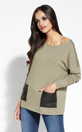 Olive Boat Neck Kimono Sweater With Long Sleeves And Pockets by Dursi