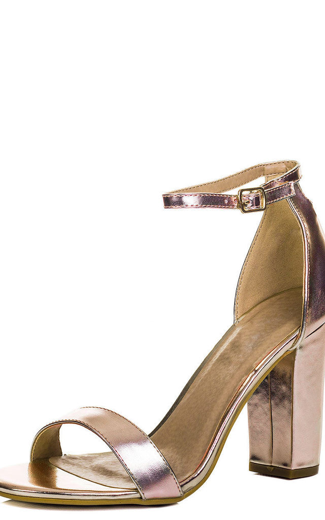 973b3fe448 SASS Barely There Block Heel Sandals Shoes - Rose Gold Leather Style by  SpyLoveBuy
