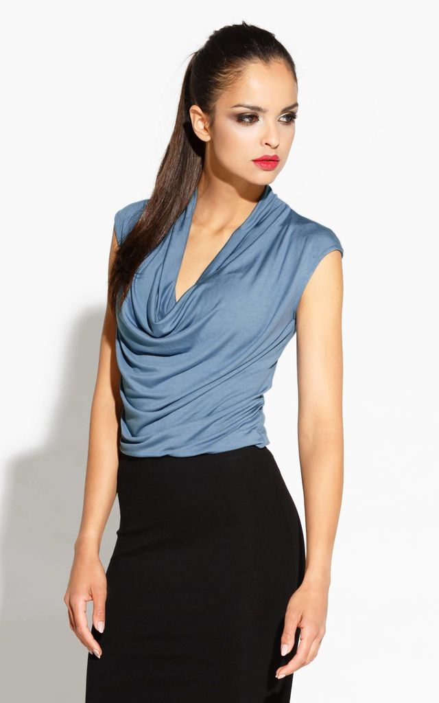 Grey-Blue Ali Cowl Neck Blouse With Short Sleeves by Dursi