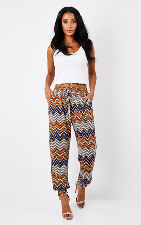 Orange Aztec Print Harem Trousers by Bella and Blue