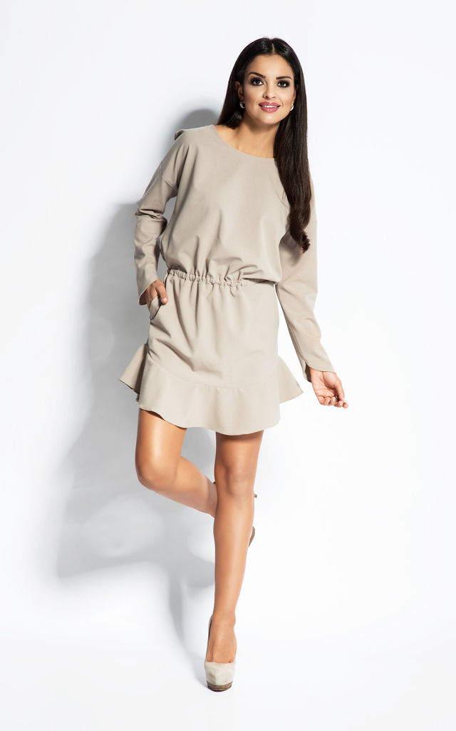 Beige Cocktail Short Mini Dress With Belt Waistband And Long Sleeves by Dursi