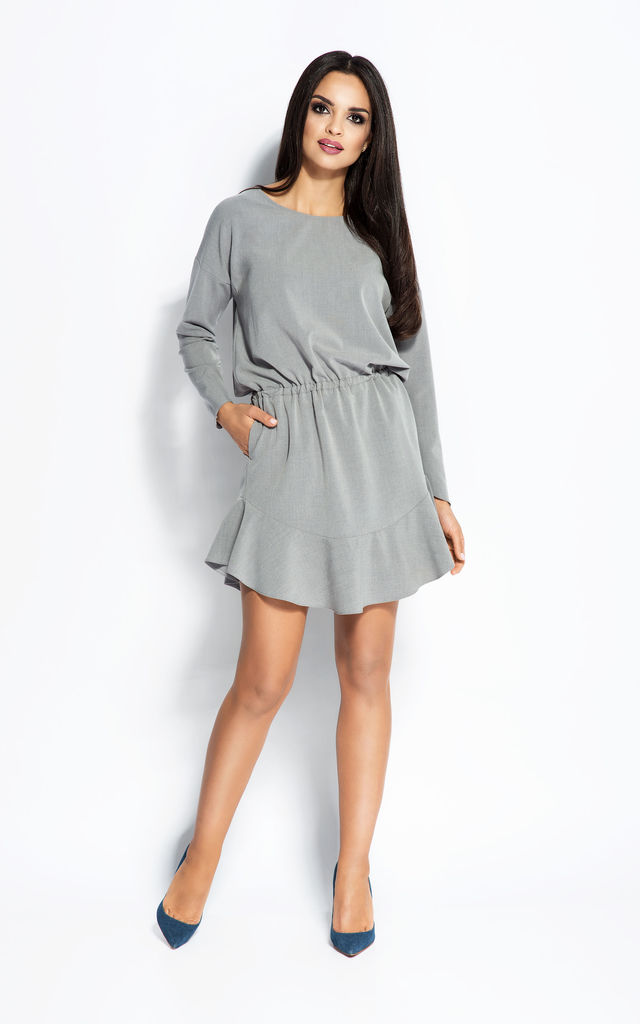 Grey Cocktail Short Mini Dress With Belt Waistband And Long Sleeves by Dursi