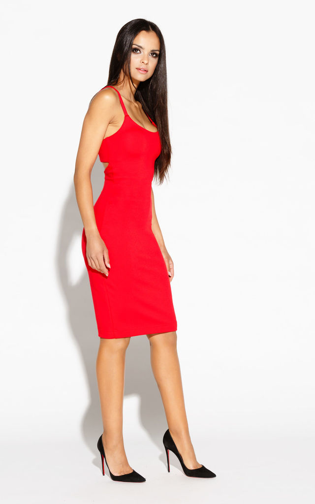 Red Spaghetti Strap Midi Dresses by Dursi