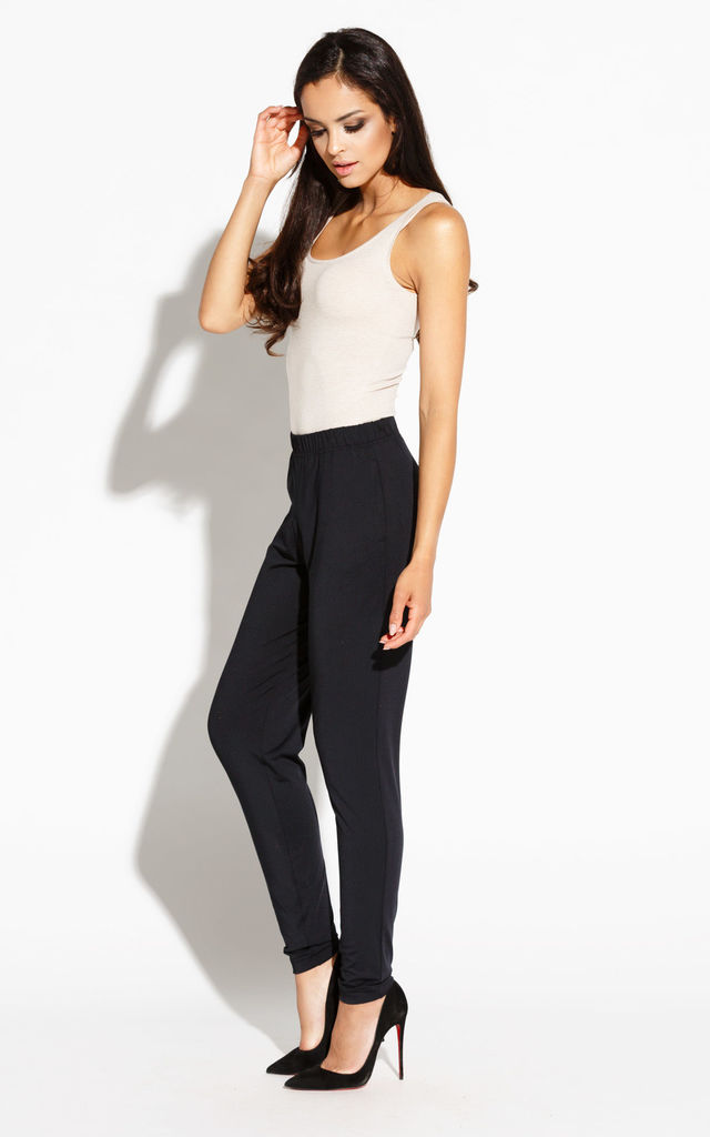 Black High Waist Skinny Trousers by Dursi