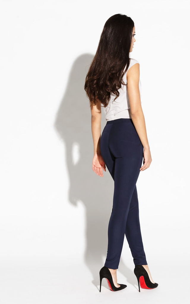 Navy Blue Elastic Waist Pants With Pockets by Dursi