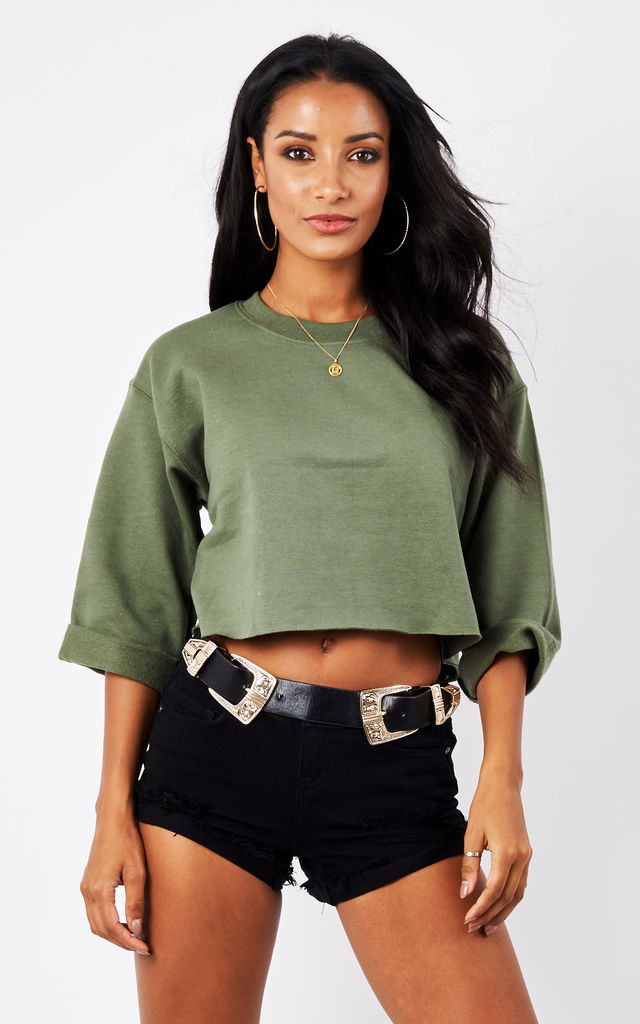 ROLLED SLEEVE CROPPED SWEATER- KHAKI by Cats got the Cream
