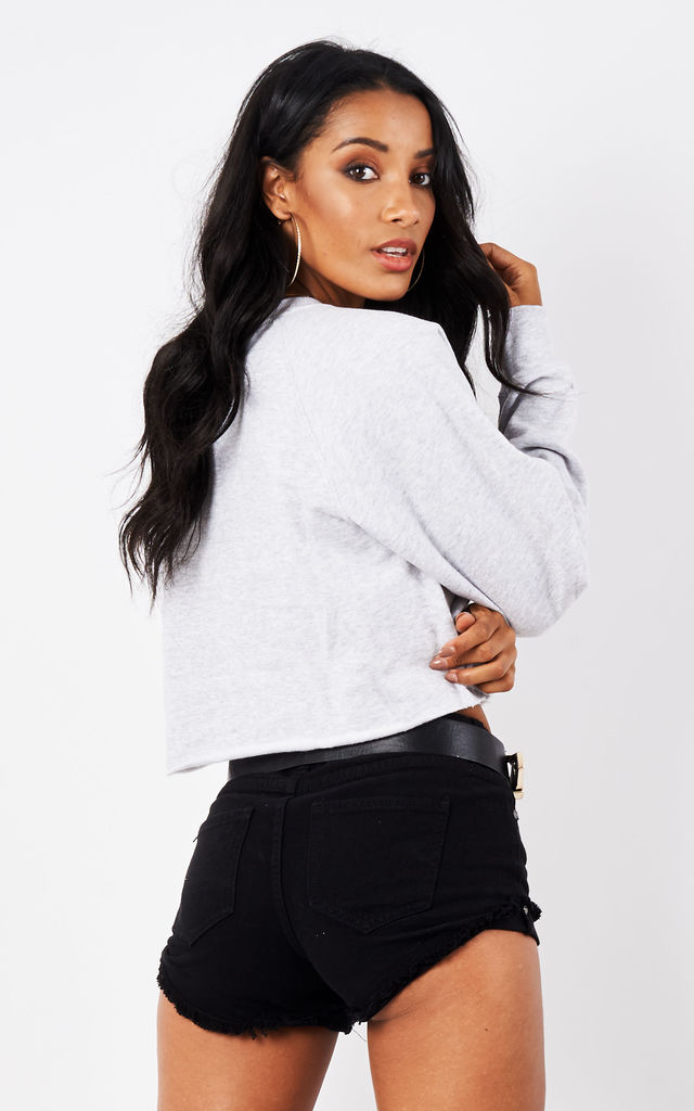 RAW CROPPED SWEATER- GREY by Cats got the Cream