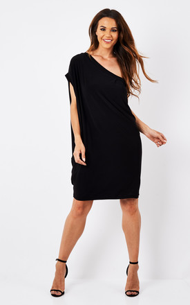 Asymmetric One Shoulder Circle Dress Black by Mccullock and Webber