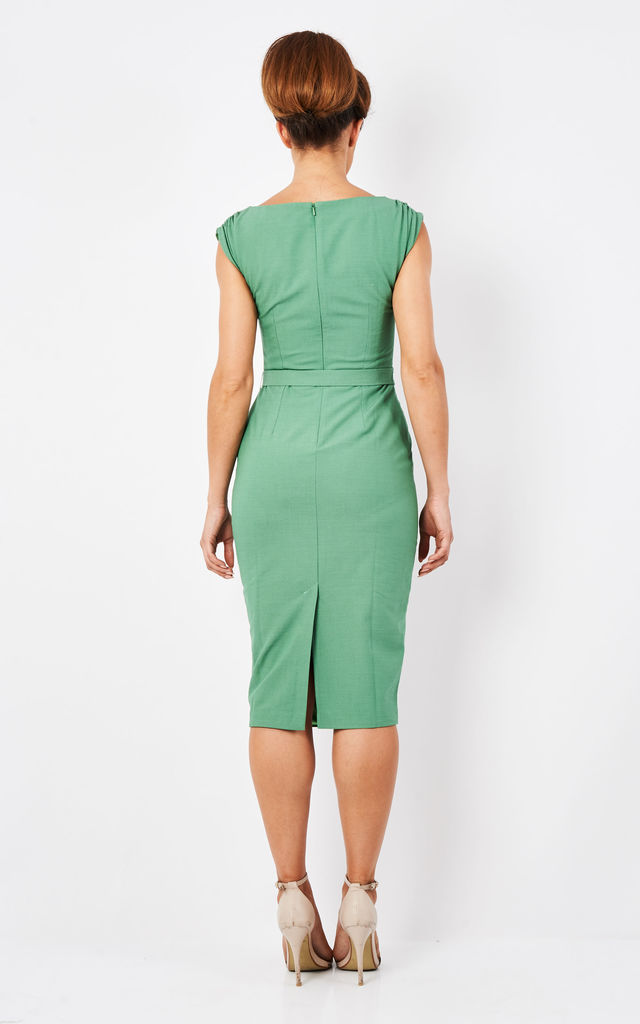 Green Wedding Guest Evening Occasion Midi Dress by Zoe Vine