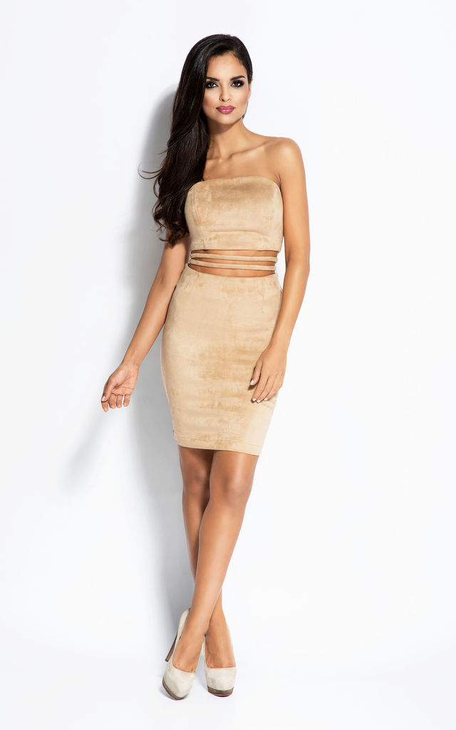 Beige Cut Out Strapless Mini Dress by Dursi