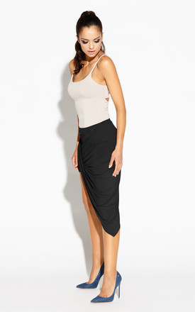 Black Knotted Asymmetrical Skirt by Dursi