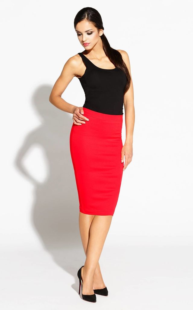 Red Straight Pencil Midi Skirt by Dursi