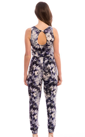 Sleeveless Open Back Floral Jumpsuit-Blue by Npire London