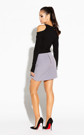 Asymmetric Mini Skirt With Zip in Grey by Dursi