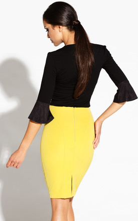 Lime Elegant Pencil Skirt With Stretch Cotton by Dursi