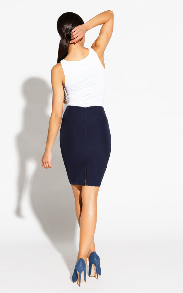 Navy Blue Elegant Pencil Skirt  With Stretch Cotton by Dursi