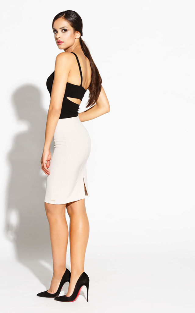 Beige Elegant Pencil Skirt With Stretch Cotton by Dursi